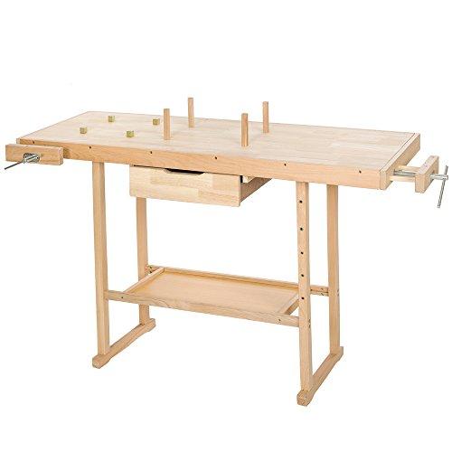 tectake Holz Werkbank mit Schraubstock - diverse Größen - (L)