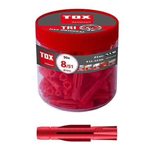 TOX Allzweckdübel Tri 8 x 51 mm in Runddose, Dübel für fast alle Baustoffe, 90 Stück, 010260051
