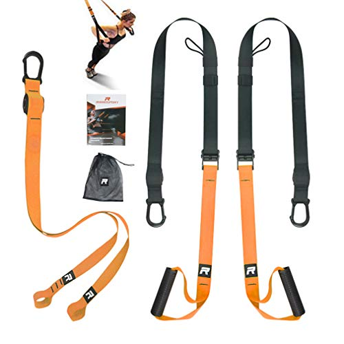 RHINOSPORT Schlingentrainer Sling Trainer Set mit Türanker Einstellbar Fitness Zuhause Suspension - geeignet...