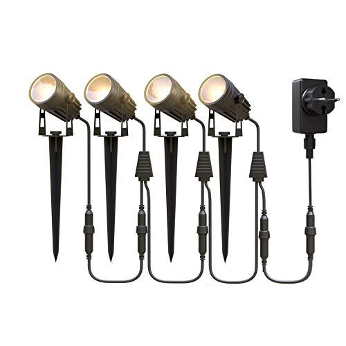 Gartenbeleuchtung LED,Aourow 3W x 4 Warmweiße LED Gartenleuchte mit Metall-Erdspieß,IP65 Wasserdichter...