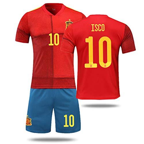 GHMEI Spanien Nationalmannschaft Fußball Trikot Anzug, 2020 Europapokal Fußball Heimtrikots, A. Iniesta...