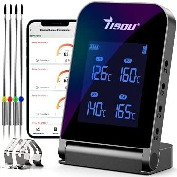 Tisoutec Bluetooth Grillthermometer mit 4*Temperaturfühler, 2*Sondenclip und Wiederaufladbar Li-Batterie,...