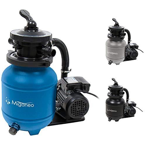 Miganeo 40385 Sandfilteranlage Dynamic 6500 Pumpleistung 4,5m³ blau, grau, schwarz, für Pool Schwimmbecken...