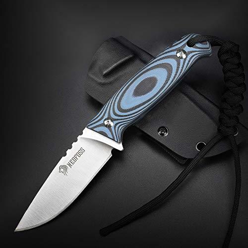 NedFoss Outdoor Messer mit Kydex Holster, Jagdmesser aus einem Stück Stahl gefertigt, bushcraft Messer EDC...