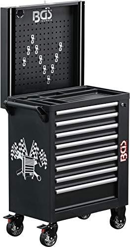 BGS 4108 | Werkstattwagen | 8 Schubladen | leer | mit Seitenschrank, Ablagen, Lochwand und Lautsprecher