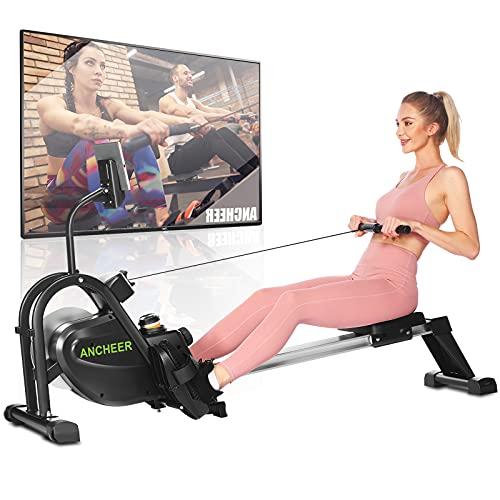 ANCHEER Rudergeräte für zuhause, F103A 2021 Rudergerät mit leises & Tablet-Halterung, Rower mit...