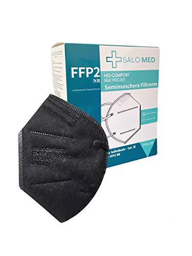 SALO MED 20x Masken FFP2 Schwarz - CE zertifiziert 0598 - Einzeln verpackt - 5-Lagen-Maske - BFE 99% Filterung...