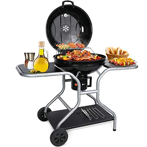 Aiglam BBQ Grill, Holzkohlegrill Kugelgrill 58cm Babecue Grill BBQ Smoker Tragbar mit Deckel, Räder für...