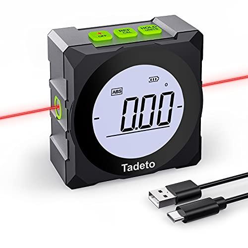 Tadeto Winkelmesser Digitaler LCD Bildschirm Neigungsmesser Mit Lasermarkierungslinien 2 Modi Bevel Box Mit...