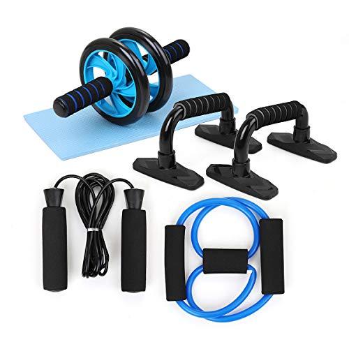 TOMSHOO 5-in-1 Fitness Geräte, AB Roller Bauchtrainer mit Liegestützgriffe, Springseil und Rutschfester...