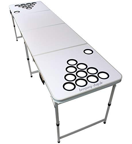Original Premium Beer Pong Tisch - White DIY - inkl. 6 Bälle & Becherhalter (ohne Becher)