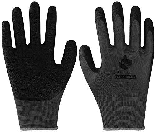10 Paar Freiherr Tatendrang Arbeitshandschuhe - Schutz-Handschuhe für die Arbeit - EN 388 - Grau/Schwarz -...