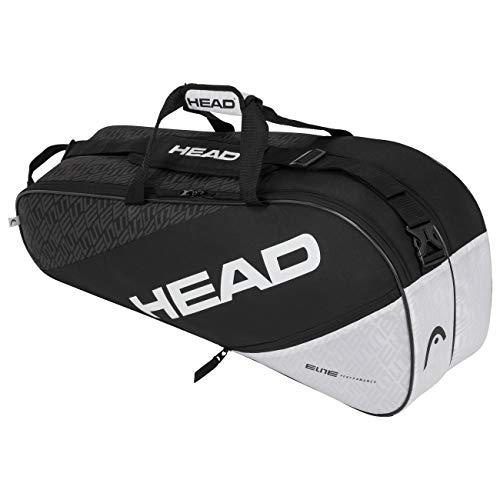 HEAD Unisex Elite 6r Combi Tennistasche, Schwarz/Weiß, EU