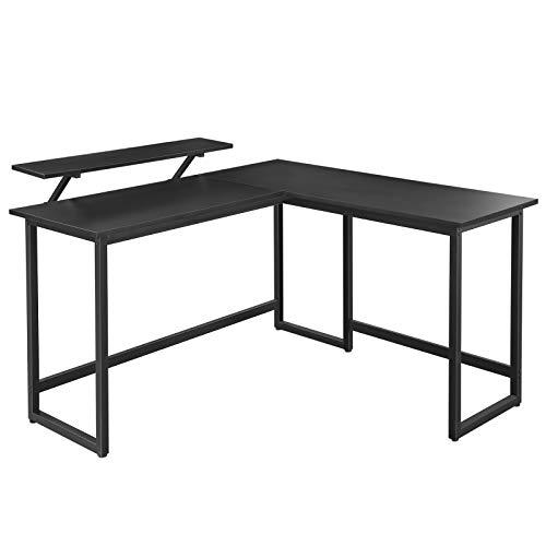 VASAGLE Schreibtisch, L-förmiger Computertisch mit beweglichem Monitoraufsatz, Eckschreibtisch, Büro,...
