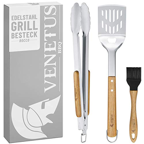 VENETUS-BBQ Grillbesteck Set aus edlem Akazienholz - extra große Grillzange und Wender