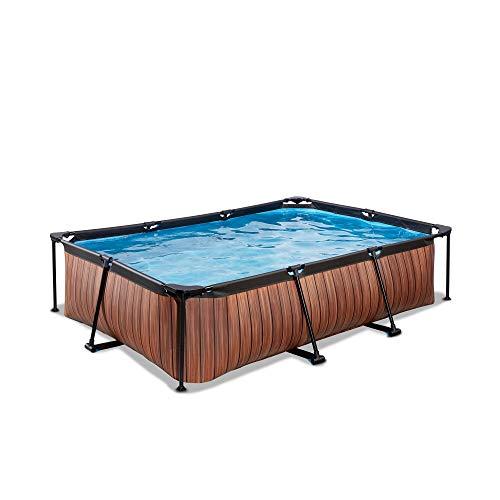 EXIT - Rahmenpool Wood - rechteckig, 300x200x65cm, braun, Holzoptik, inklusive Filterpumpe, kompakter Pool...