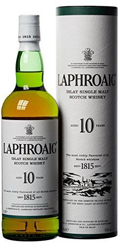 Laphroaig 10 Jahre Islay Single Malt Scotch Whisky mit Geschenkverpackung, einzigartig rauchig-torfiger...