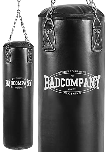 Bad Company Boxsack inkl. Heavy Duty Vierpunkt-Stahlkette I Vinyl Punching Bag, gefüllt I 120 x 35 cm