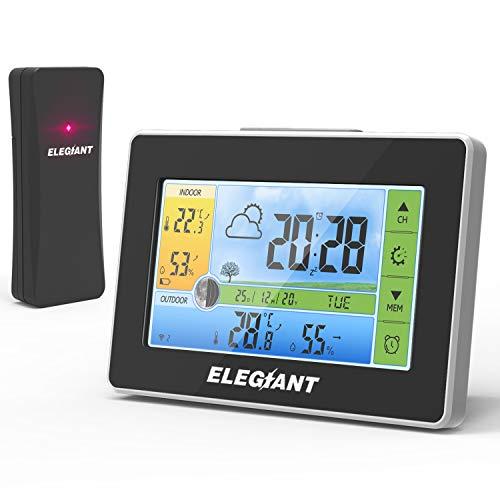 ELEGIANT [2020 Wetterstation mit Außensensor, Digital Innen und Außen Thermometer Hygrometer mit...