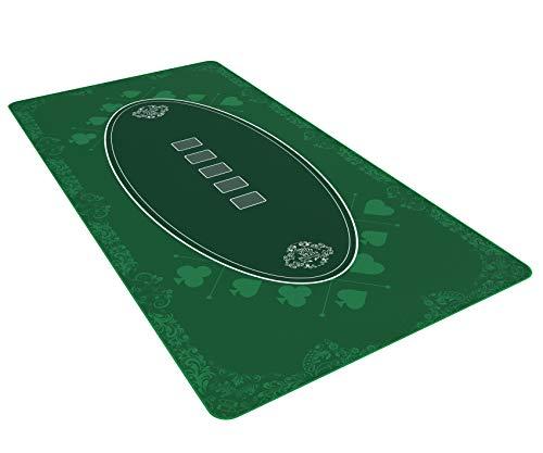 Bullets Playing Cards Designer Pokermatte grün in 180 x 90 cm für den eigenen Pokertisch - Deluxe Pokertuch...