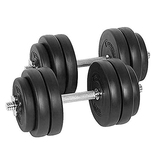 Physionics® Kurzhantel Set 30 kg (2 x 15 kg) - inkl. 12 Gewichte aus Kunststoff, 2 Hantelstangen und 4...