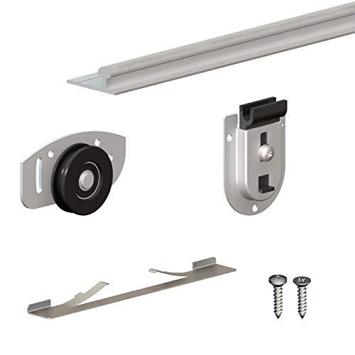 Schiebetürbeschlag SLID'UP 130, Laufschiene 120 cm, 2 Türen bis je 70 kg, für Schränke, Kleiderschränke,...