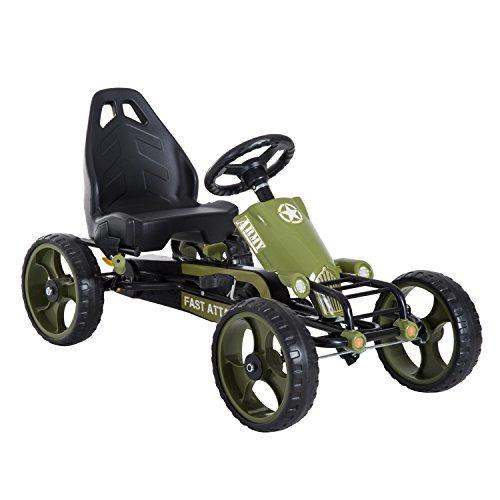 HOMCOM Go Kart Tretauto Tretfahrzeug mit Handbremse für 3-6 Jahre Grün 105 x 54 x 61cm