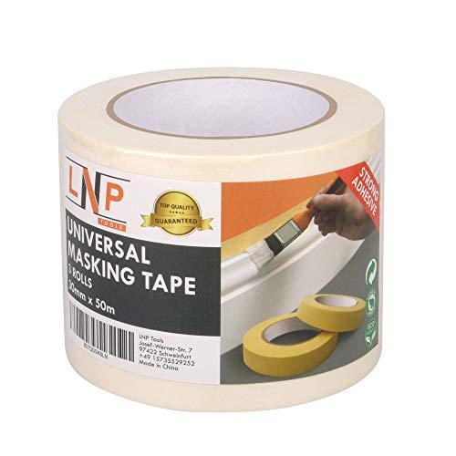 LNP Tools Malerkrepp 30mm x 50m (Extra Stark) Kreppband 3er Pack fr Malerarbeiten