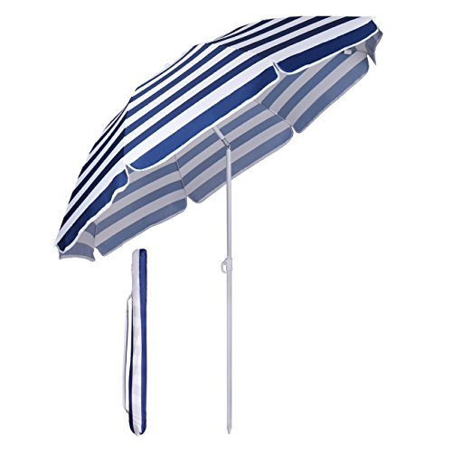 Sekey® Sonnenschirm 160 cm Marktschirm Gartenschirm Terrassenschirm Blaue weiße Streifen Rund Sonnenschutz...