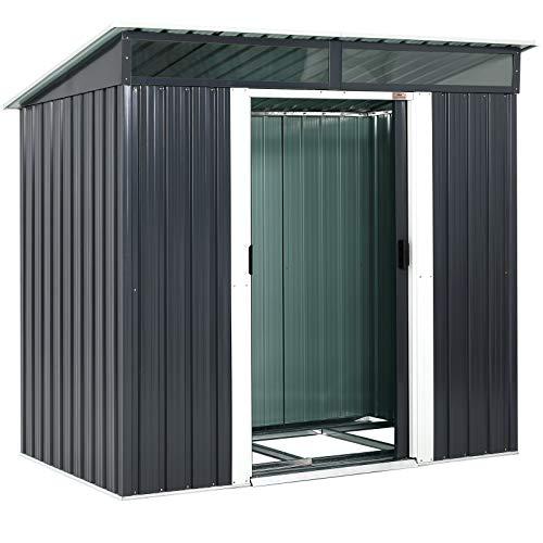Gardebruk L Metall Gerätehaus 3,4m³ mit Fundament 196x122x180cm 2 Fenster Anthrazit Geräteschuppen...