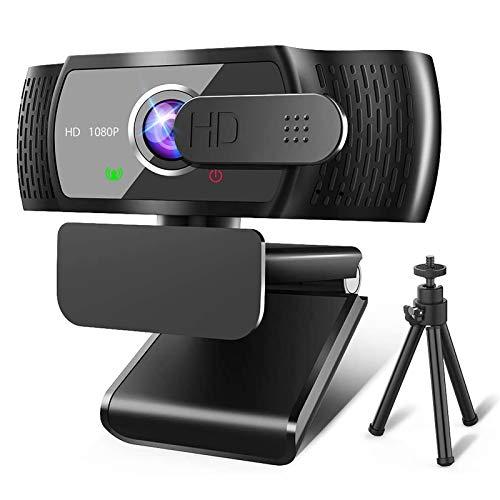RLBUNZ 1080P Webcam mit Mikrofon, Full HD PC/Laptop Webkamera mit Stativ, Automatischer Lichtkorrektur, USB...