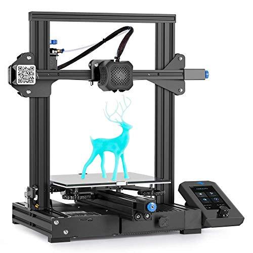 Creality Ender 3 V2 3D-Drucker mit 32-Bit-Silent-Motherboard, Meanwell-Netzteil, Carborundum-Glasplattform und...
