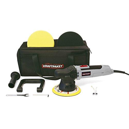 Dino KRAFTPAKET 640220 9mm-650W Exzenter Poliermaschine Stufenlos im Set mit Polierschwamm Polierteller Tasche...