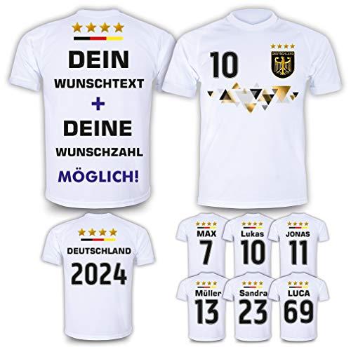 DE FANSHOP Deutschland Trikot mit Hose & GRATIS Wunschname + Nummer #D11 2021/2022 EM/WM Weiss - Geschenk für...