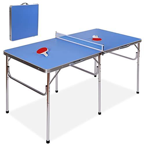 DREAMADE Tischtennis Platte Klappbar, Tischtennisplatte Tisch für Tischtennis mit 2 Schläger, 2 Bälle sowie...
