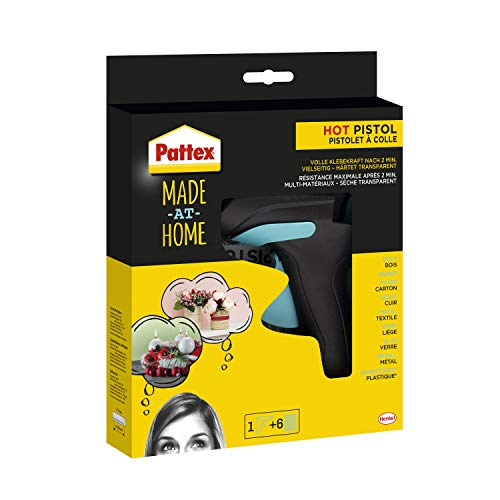 Pattex Made at Home Heißklebepistole, Kleber für kreative Heimwerkarbeiten, Set aus 1x Klebepistole und 6x...