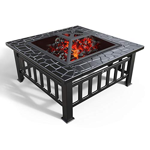 VOUNOT Feuerschale mit Funkenschutz und Grillrost, Feuerstelle Feuerkorb für Garden Terrasse Heizung BBQ, mit...