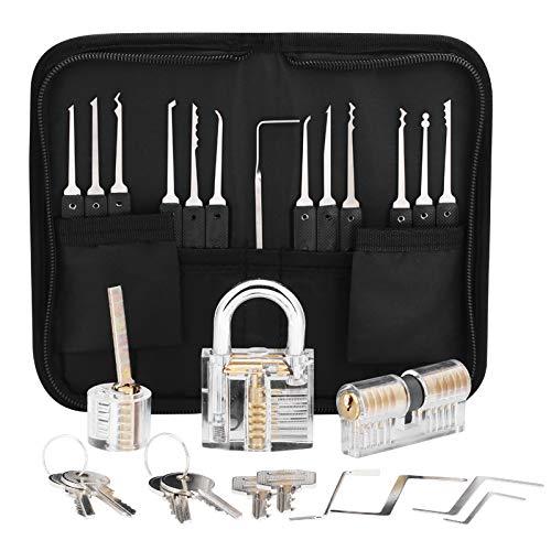 Lock Picking Set, 24 Stück Dietrich Set Generalschlüssel-Systeme für Einsteiger, Lock Pick Training Set mit...