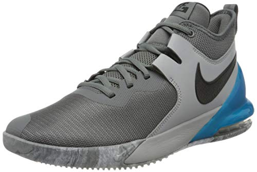 Nike Herren AIR MAX Impact Basketballschuh, Smoke Grey Black Lt Smoke Grey Blue Fury, 45.5 EU