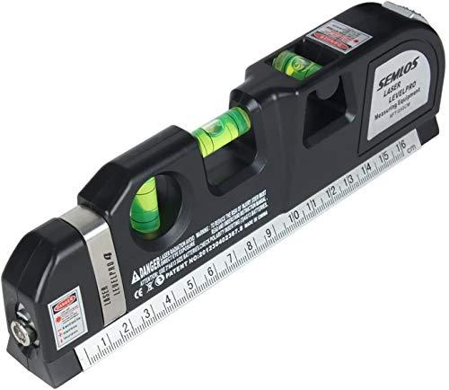 Semlos Laser-Wasserwaage (kreuzlinienlaser,Bandmaß 250cm,Stahlmaßstab,Wasserwaage mit)