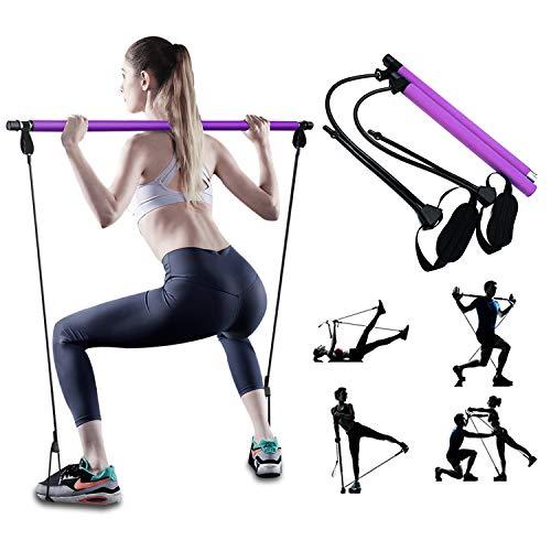 Fitnessbands Pilates Bar Kit, Pilates Reformer Stick mit Einstellbar Resistances bands, Home Gym Training...