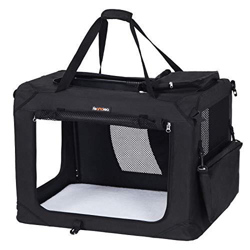 FEANDREA Hundebox, Transportbox für Auto, Hundetransportbox, Faltbare Katzenbox aus Oxford-Gewebe, XL, 81 x...