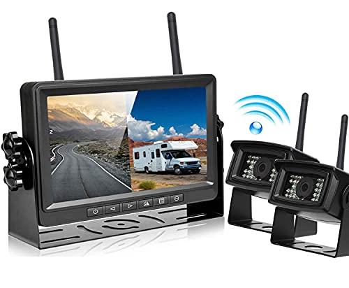 Podofo Digitales RüCkfahrkamera Kabellos FHD 1080p 2X RüCkfahrkameras Mit 7 Inch LCD Monitor IP69...