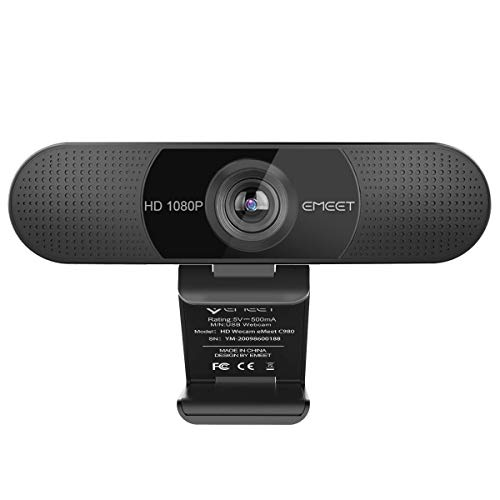 eMeet Full HD Webcam - C960 1080P Webcam mit Dual Mikrofon, 90 ° Weitwinkel Streaming Kamera mit...