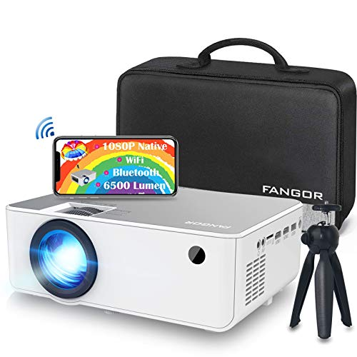 Mini WiFi Beamer, FANGOR Native 1080P Full HD Heimkino Beamer, 6500 Lumen Tragbarer Bluetooth Beamer,...