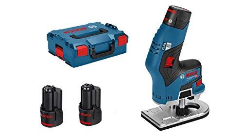Bosch Professional 12V System Akku Kantenfräse GKF 12V-8 (inkl. 2x3.0Ah Akku + Schnellladegerät, Spannzange...