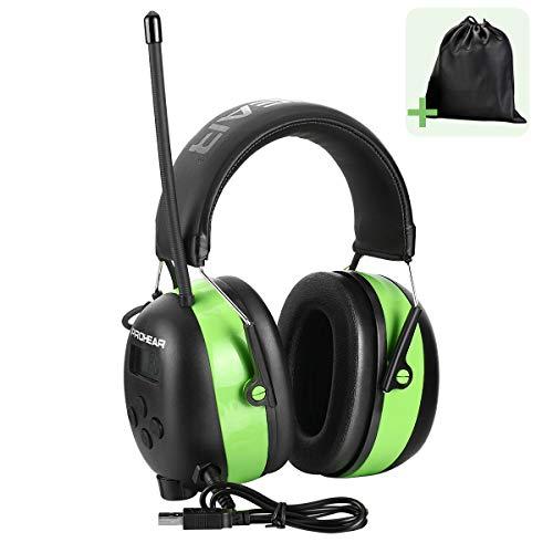 PROHEAR Gehörschutz mit Bluetooth 5.0, FM/AM Radio MP3 Wiederaufbare Ohrenschützer, Eingebautem Mikrofon und...