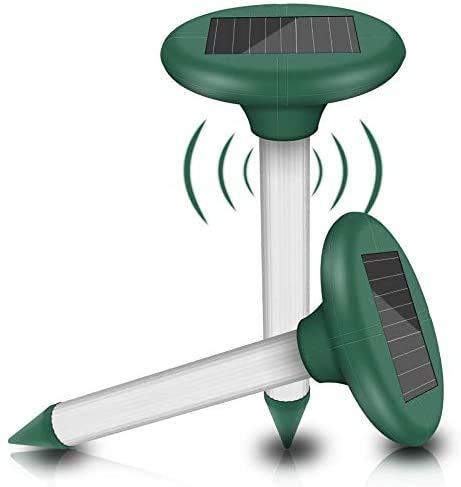 Vivibel 2 Stück Solar Maulwurfabwehr Ultrasonic Solar Maulwurfschreck Maulwurfbekämpfung Wühlmausschreck...