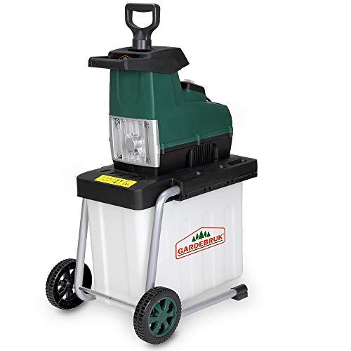 Gardebruk elektrischer Leisehäcksler 2800 W max. 45 mm Astdicke 60L Auffangbox Gartenhäcksler...