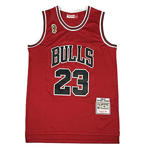 KKSY Herren Trikots Chicago Bulls #23 1996-1997 Basketball Trikots Retro Atmungsaktive Weste,Red,L